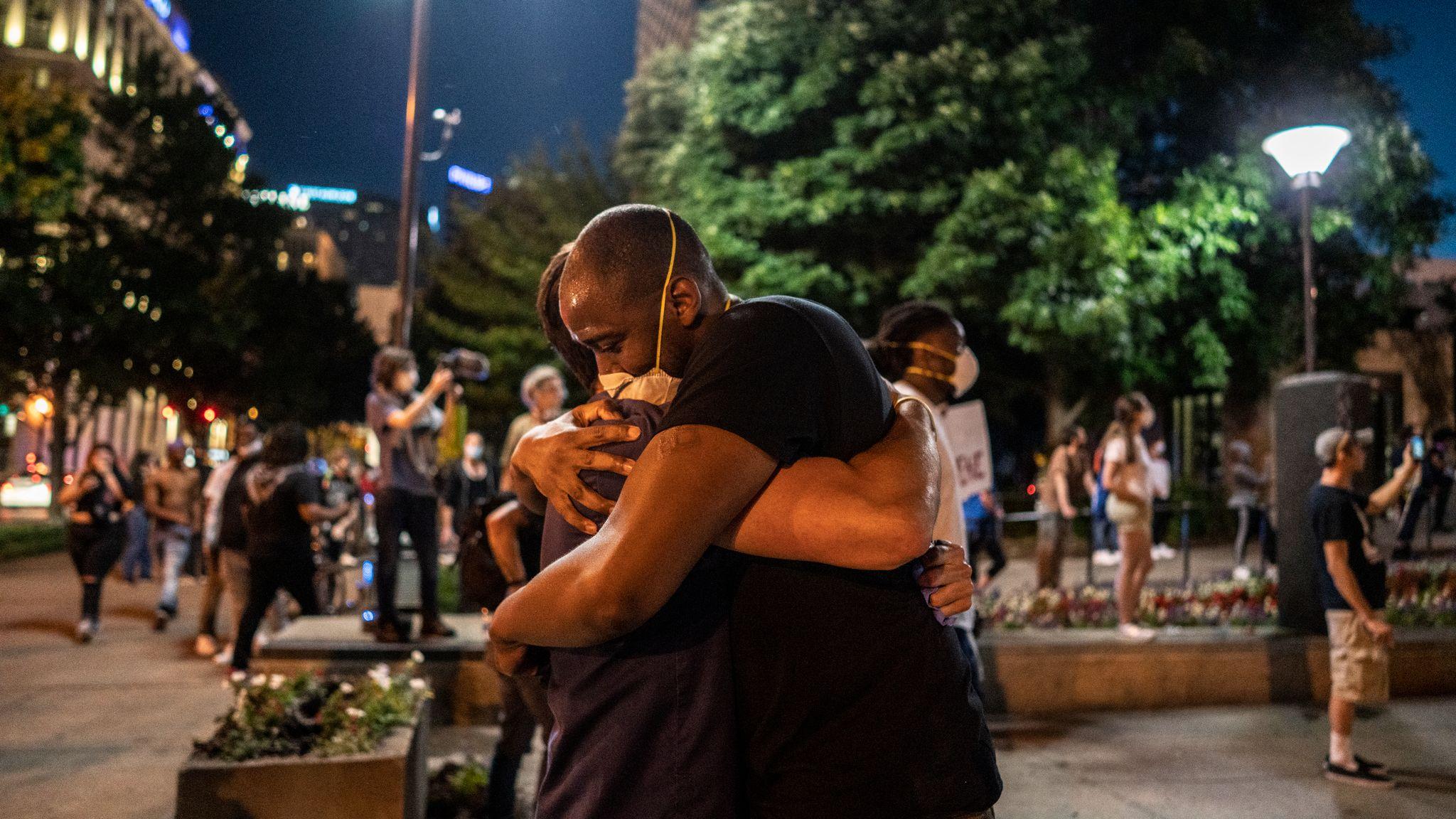 Nashville, Tenn., May 30 - Protestors hug in Nashville Public Square. (Photo: John Partipilo)