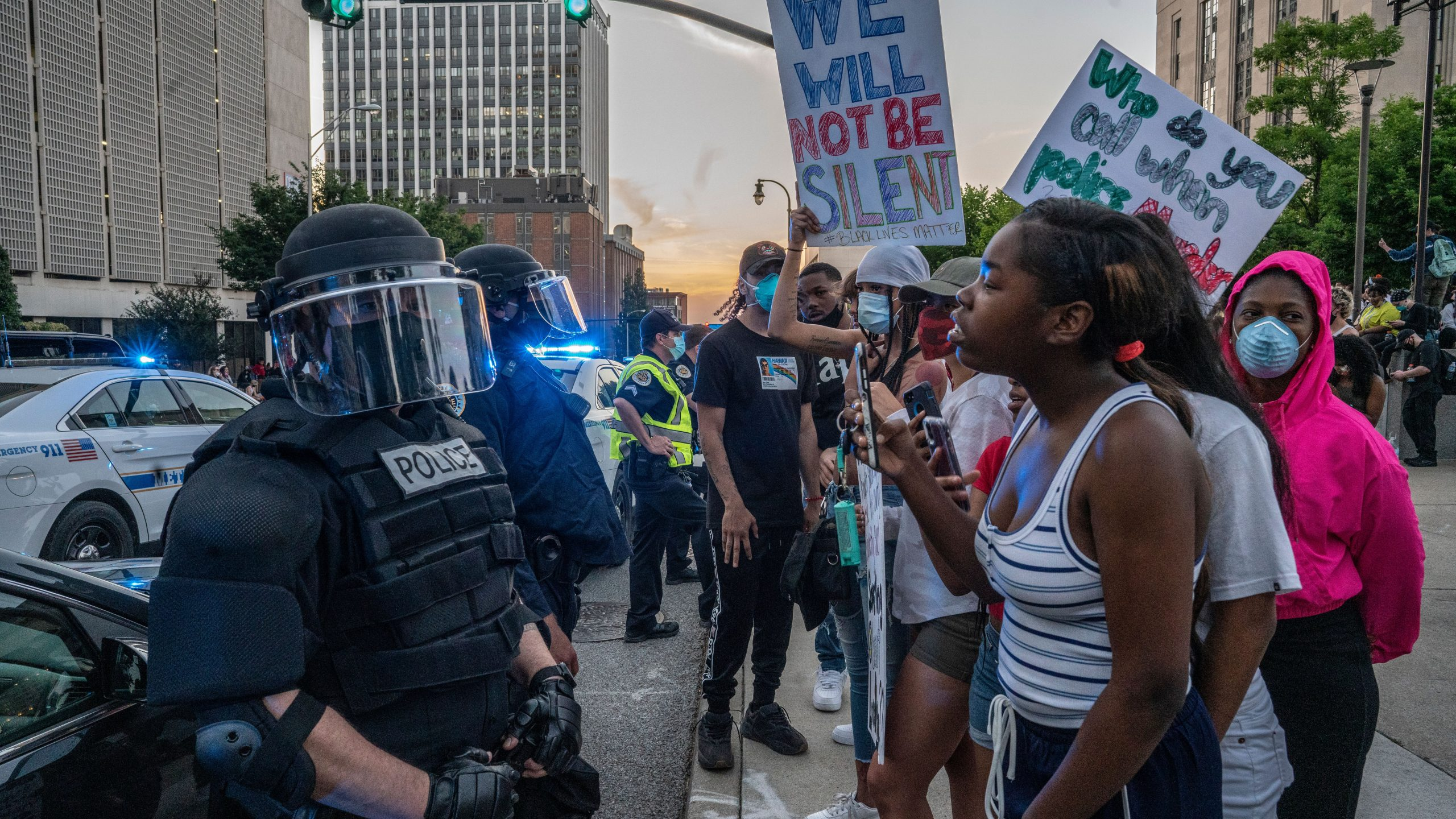 Nashville, Tenn., May 30 - Protestors face off against Metro Nashville police in riot gear near the Historic Nashville Courthouse.