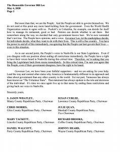 A screenshot of the letter sent to Governor Bill Lee by eight chairs of rural Republican county parties. (Second page.)