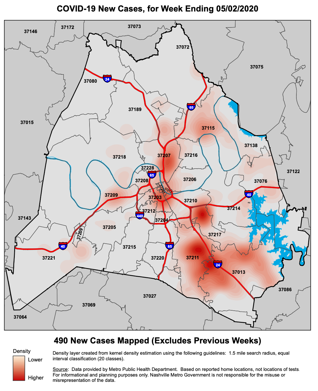 A heat map of COVID-19 cases by Nashville zip code. (Courtesy of Metro Nashville Department of Health.)