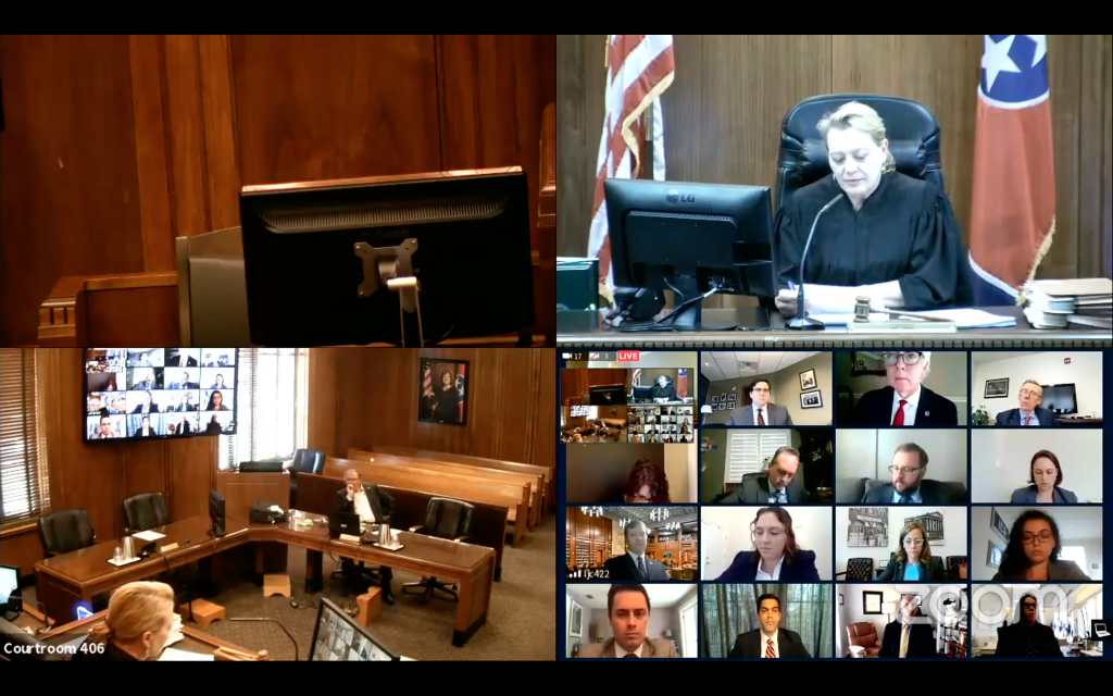 A screenshot of the virtual hearing at which Davidson County Chancellor Anne Martin gave her ruling on the state of Tennessee's request to allow them to continue implementing the new education voucher program pending its appeal of her ruling that the law is unconstitutional.