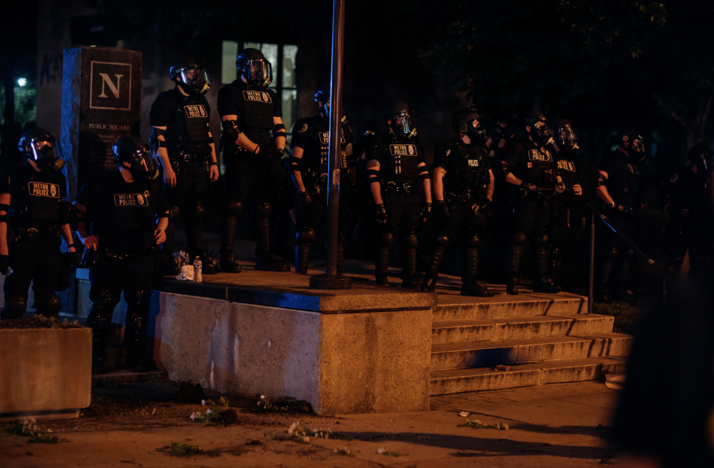 Metro Police at a recent protest. (Photo: Alex Kent)