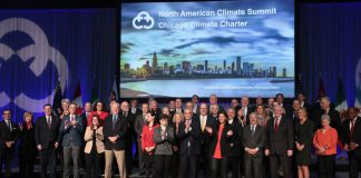 Mayors from U.S., Mexico and Canada during the North American Climate Summit in Chicago in 2017. The group included leaders of the C40 Cities Climate Leadership Group. (Photo by Scott Olson/Getty Images)