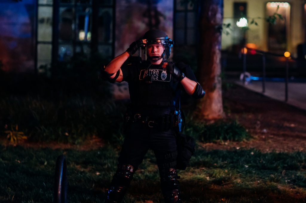 Nashville, Tenn., May 30 - A Metro Nashville Police officer in riot gear. (Photo: Alex Kent)