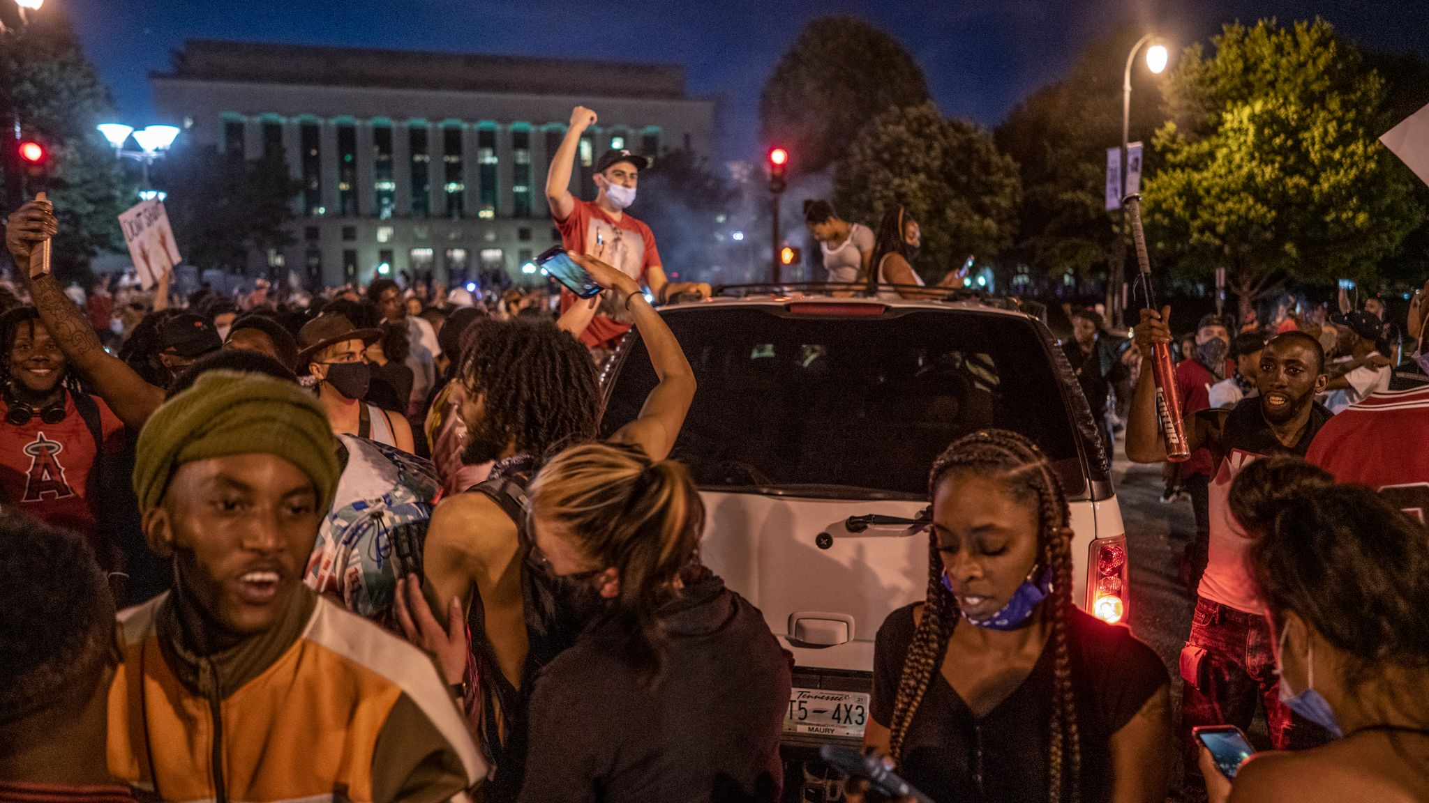 Nashville, Tenn., May 30 - An earlier peaceful demonstration devolved into a riot with protestors pouring into downtown Nashville streets. (Photo: John Partipilo)