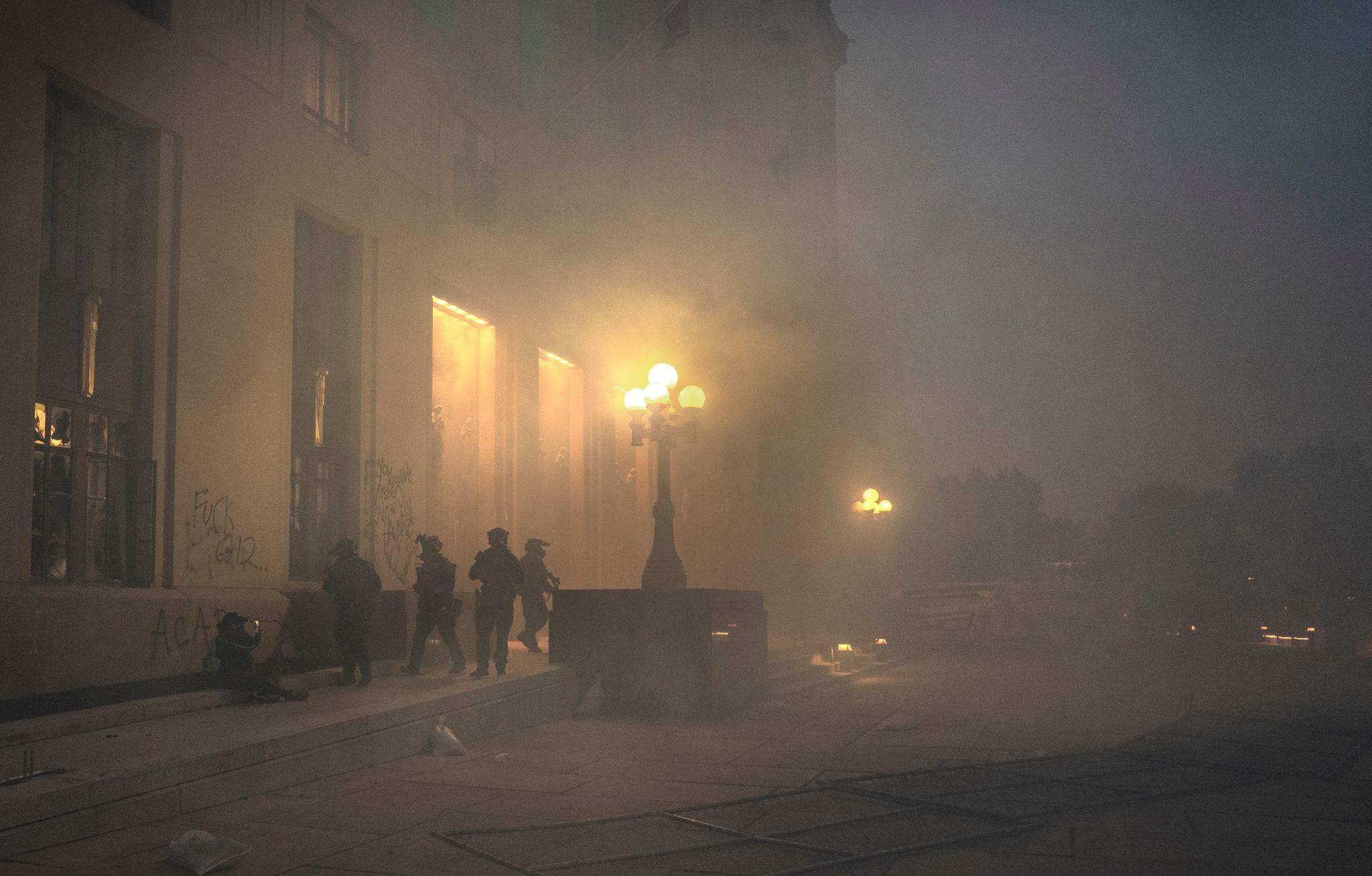 Nashville, Tenn. - Metro Nashville Police deploy tear gas outside Historic Metro Nashville Courthouse to disperse the crowd. (Photo: John Partipilo)