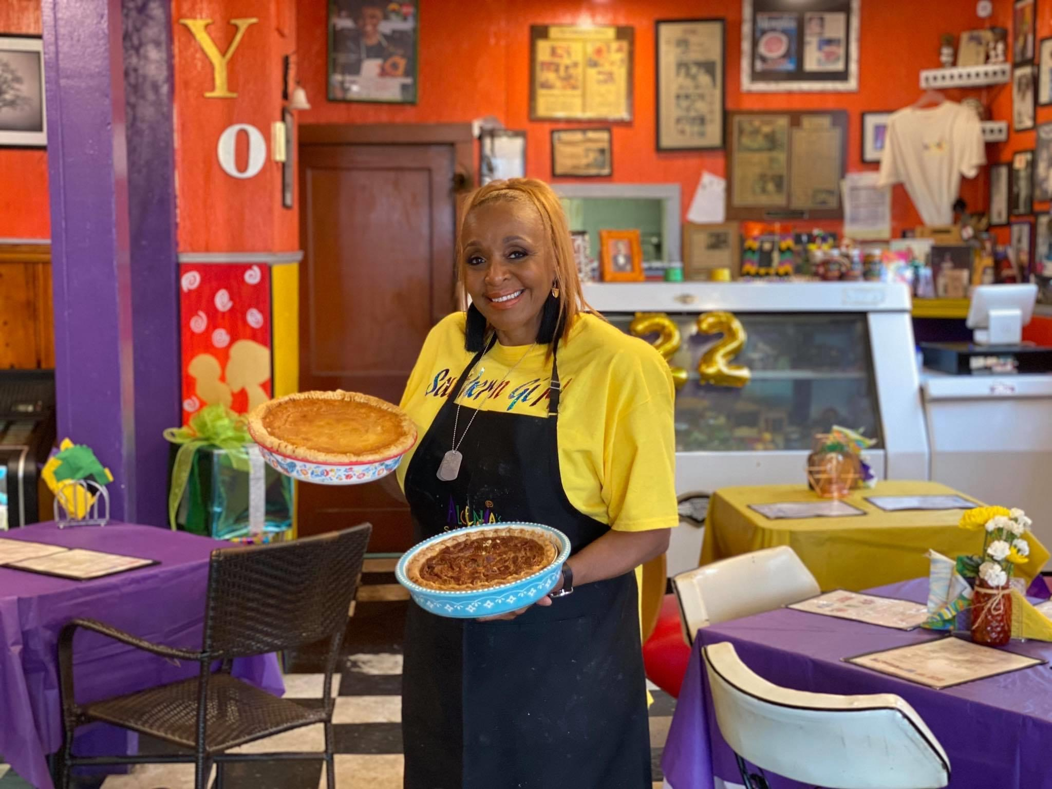 B. J. Chester-Tamayo, owner of Alcenia's in Memphis, with a couple of the day's homemade pies. (Photo: Anne Braly)