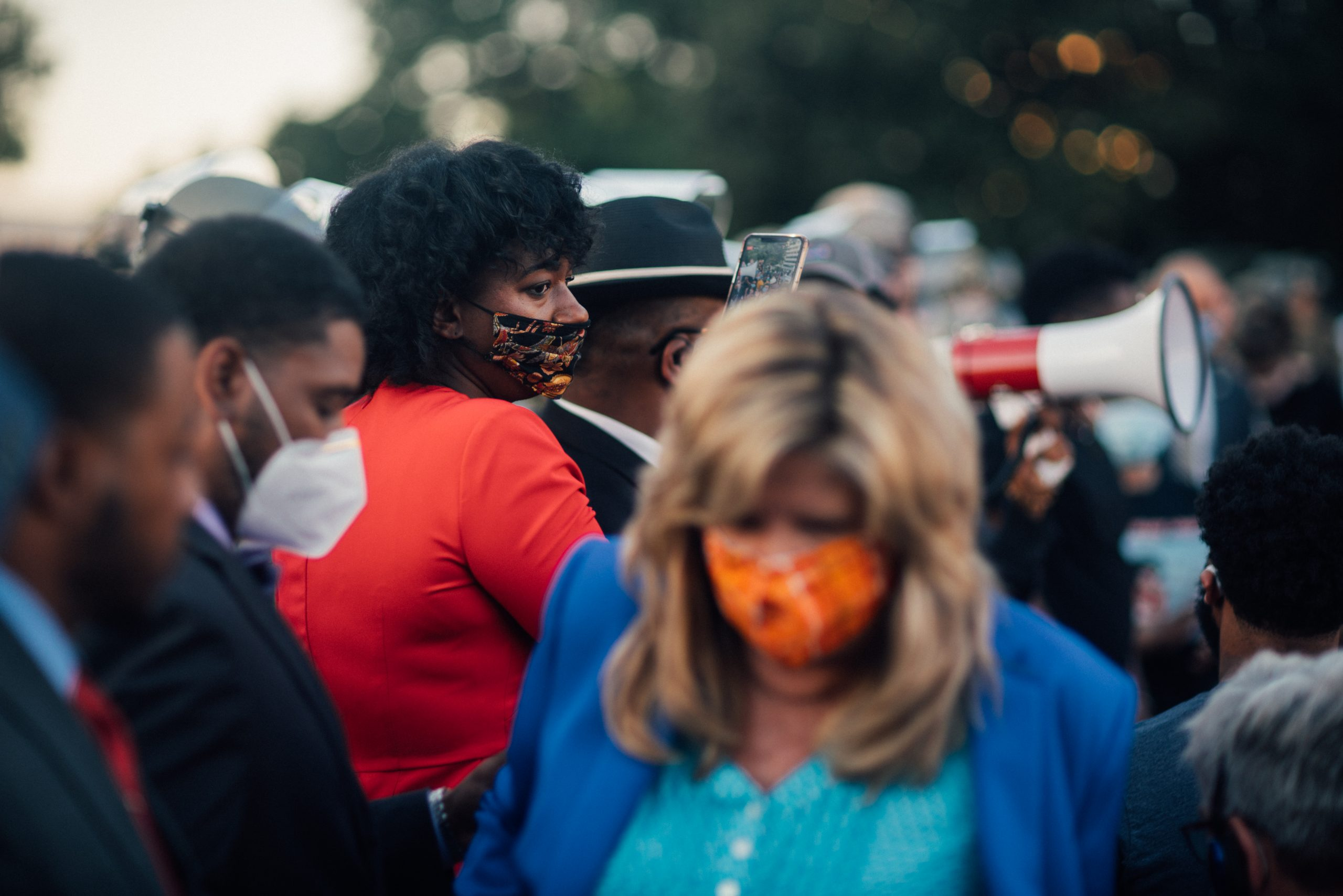Nashville, Tenn., Jume 1 - State Reps. London Lamar (D- Memphis) in red and Gloria Johnson (D-Knoxville) in mask facing camera at vigil. (Photo: Alex Kent)