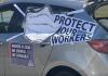 Car decorated for AFL-CIO Protect Our Workers caravan. (Photo: AFL-CIO Facebook)