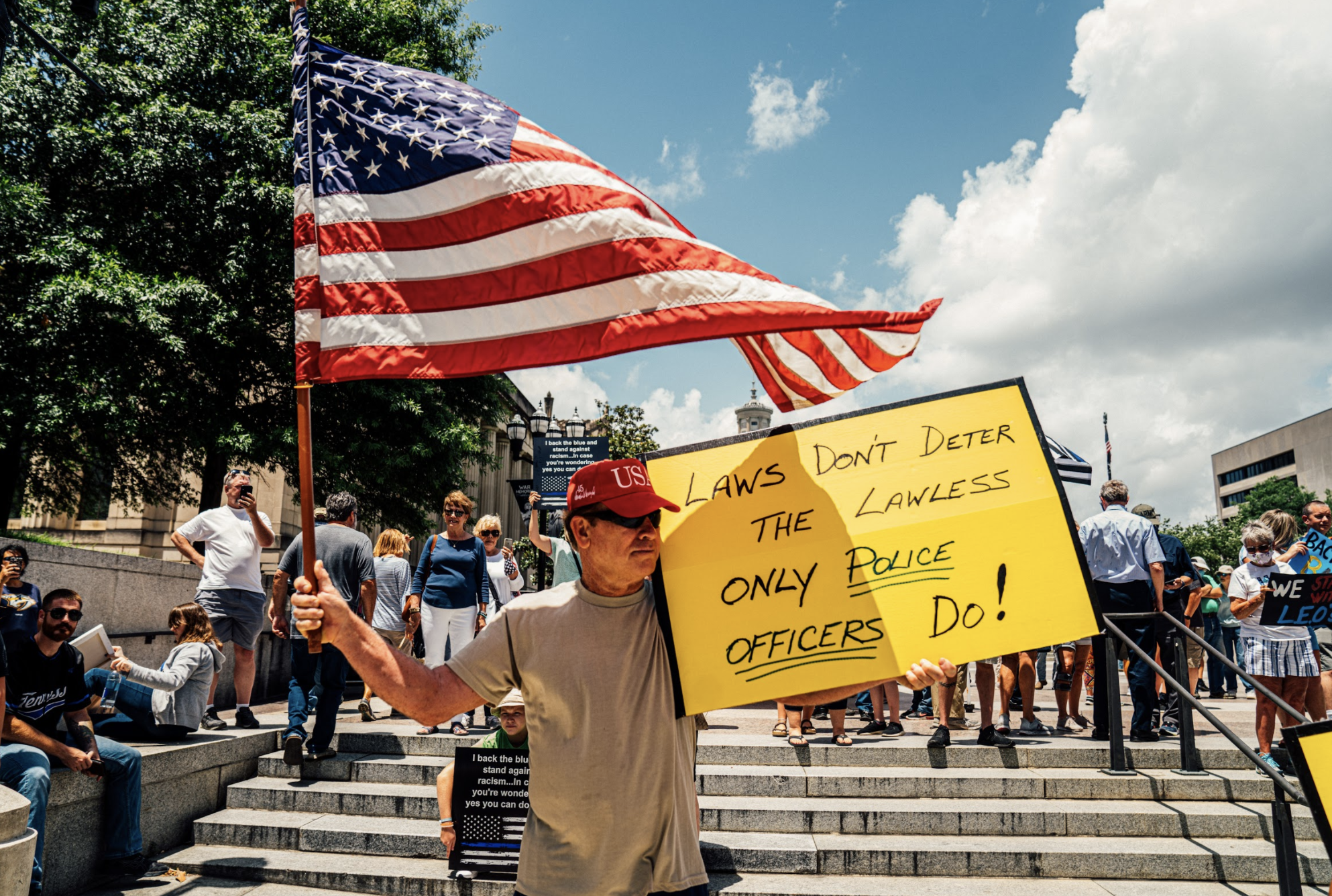 Nashville, Tenn., June 28 - Back the Badge demonstration at War Memorial Plaza. (Photo: Alex Kent)