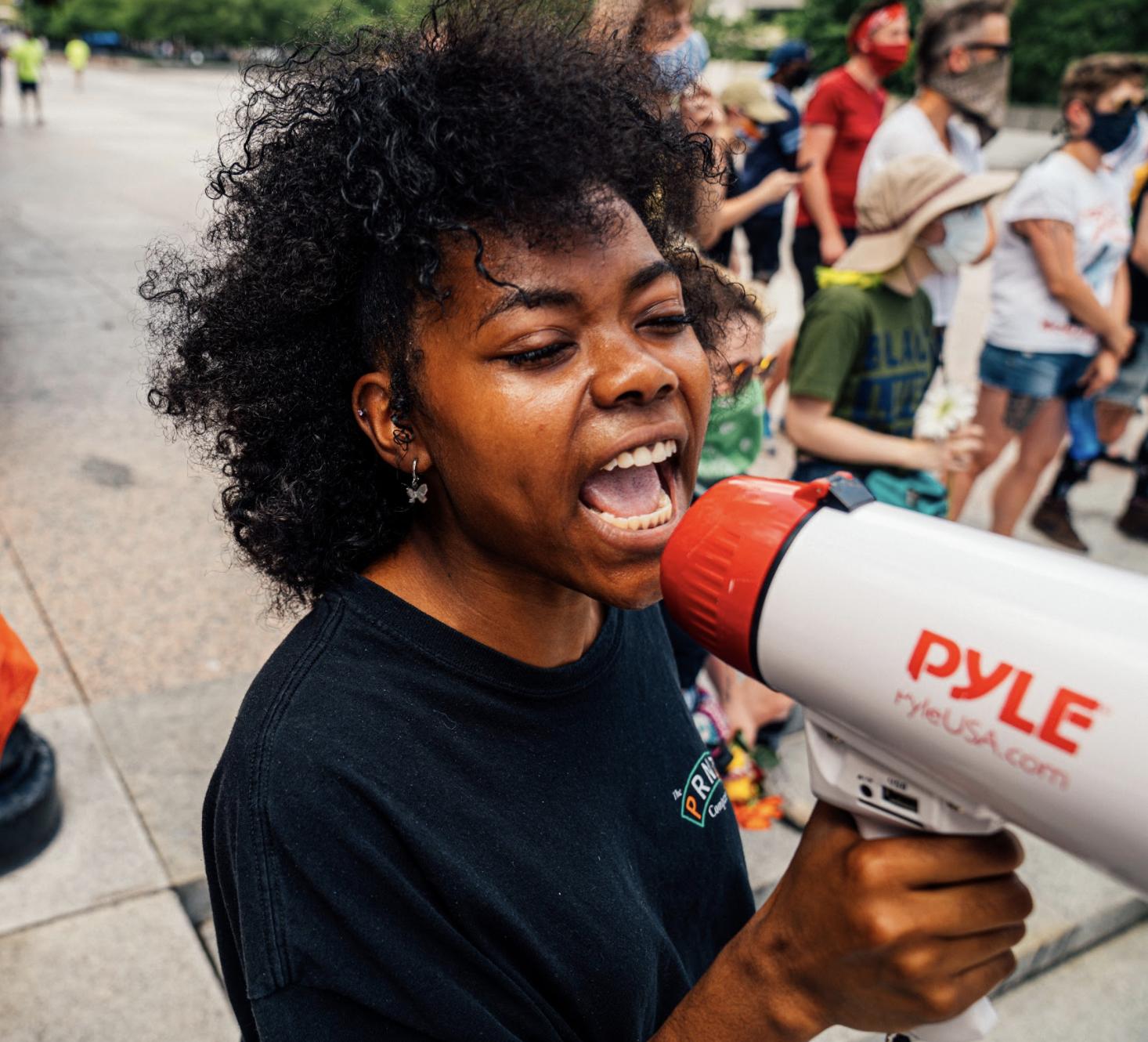 Nashville, Tenn., June 28 - A Black Lives Matter activist leads chants. (Photo: Alex Kent)