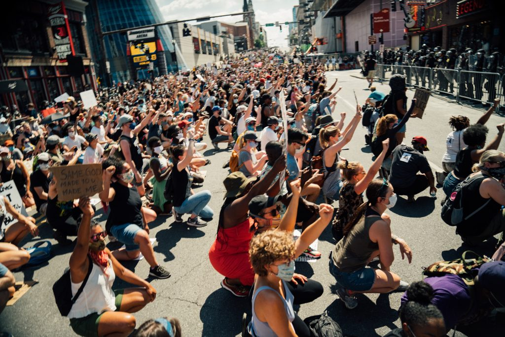Nashville, Tenn., June 13- Protestors sit on Broadway during a Black Lives Matter march. (Photo: Alex Kent)