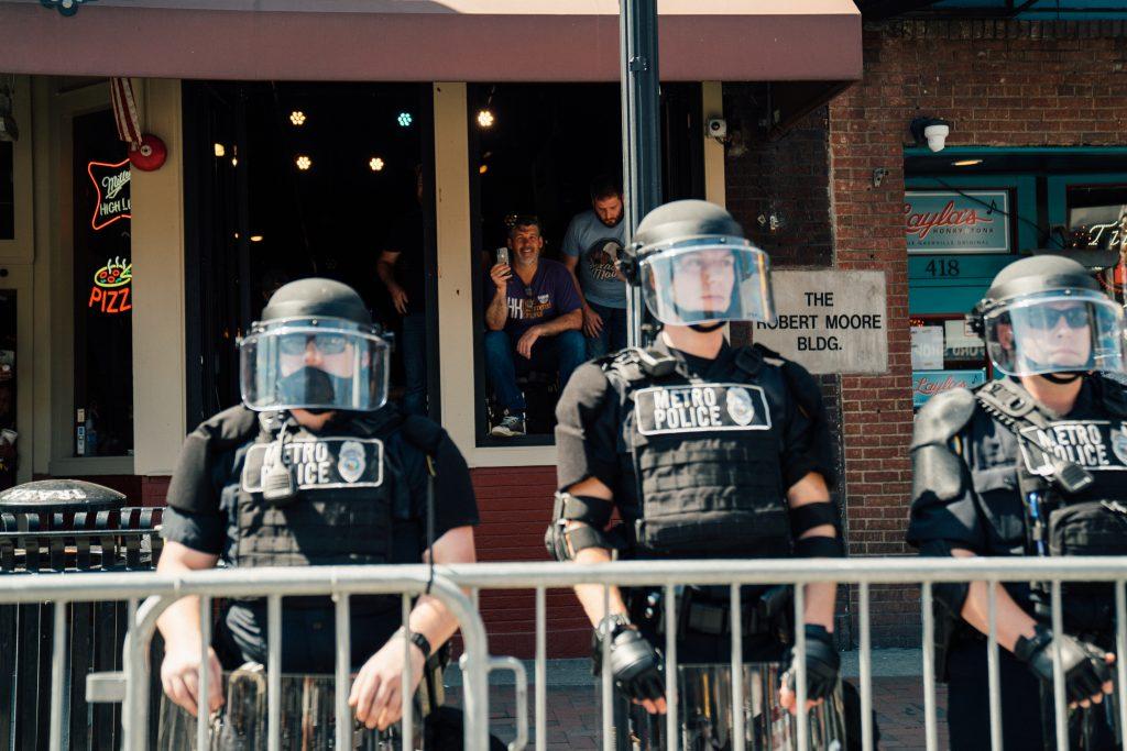 Metro Nashville police at a July protest. (Photo: Alex Kent)