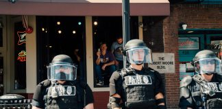 Metro Nashville police at a July protest. (Photo: Alex Kent)