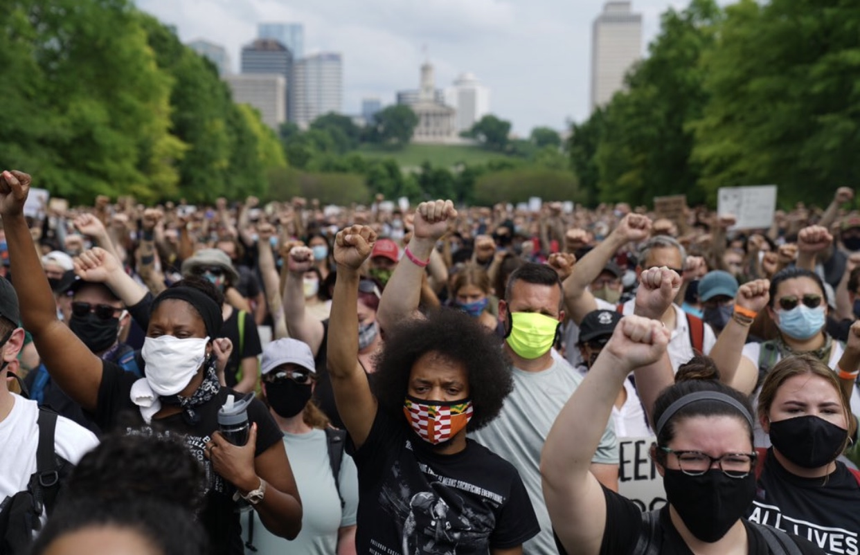 The Black Lives Matter march starting the Bicentennial Mall in Nashville. (Photo: Alex Kent)