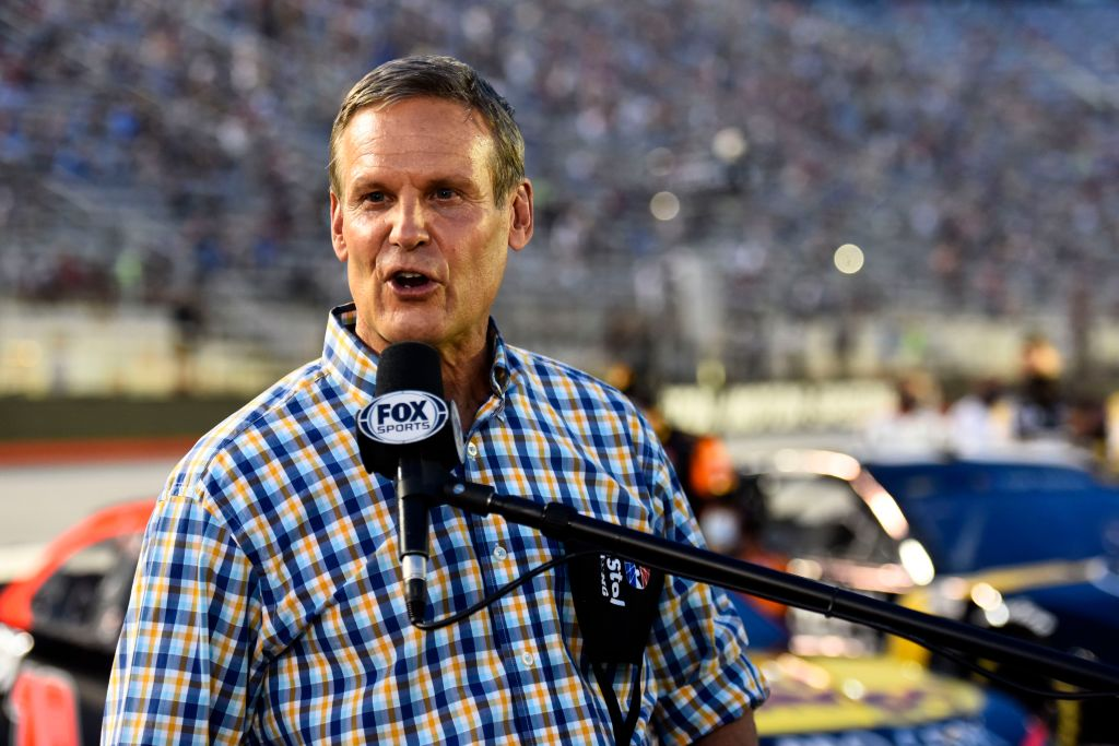 BRISTOL, TENNESSEE - JULY 15: Tennessee Governor Bill Lee gives the command to start engines prior to the NASCAR Cup Series All-Star Race at Bristol Motor Speedway on July 15, 2020 in Bristol, Tennessee. (Photo by Jared C. Tilton/Getty Images)