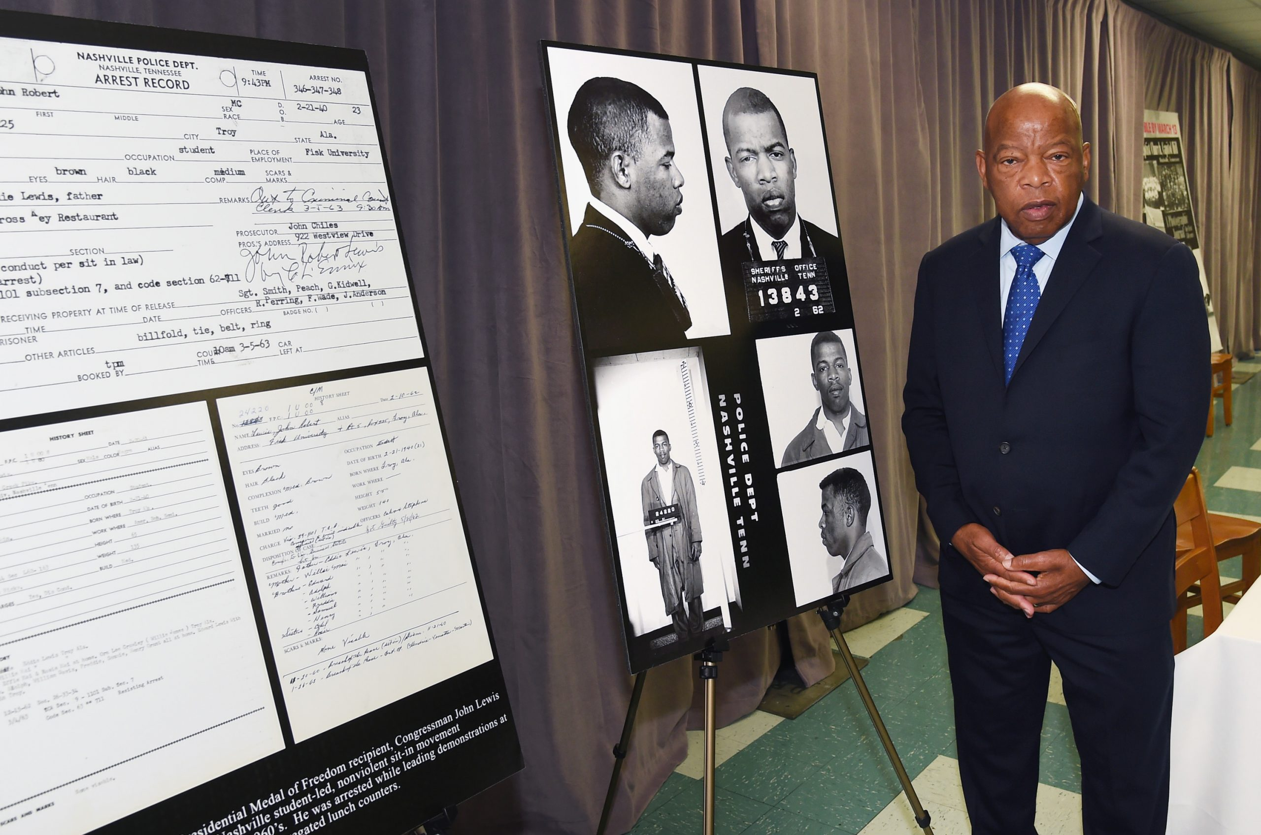 NASHVILLE, TN - NOVEMBER 19, 2016: Congressman/Civil Rights Icon John Lewis views for the first time images and his arrest record for leading a nonviolent sit-in at Nashville's segregated lunch counters, March 5, 1963. (Photo by Rick Diamond/Getty Images)