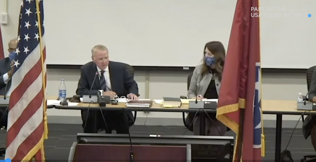 Butch Eley, commissioner, Tennessee Department of Finance and Administration, leads Thursday's meeting of the Tennessee Capitol Commission. (Photo: Tennessee Capitol Commission video)