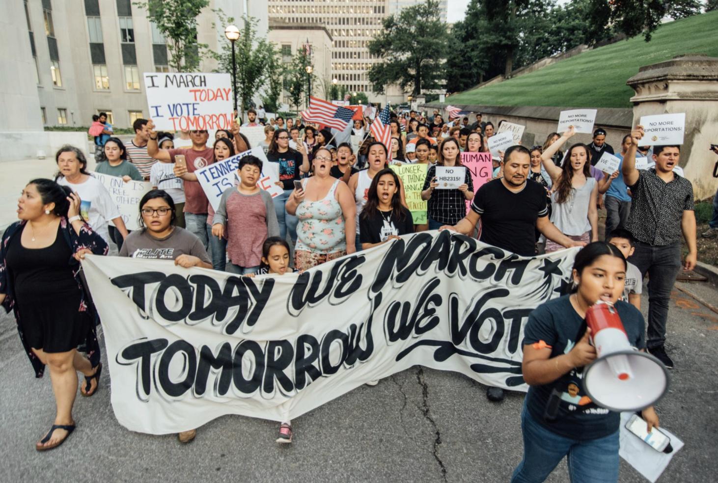 A 2018 photo from a TIRRC demonstration. (Photo: Jon Dragonette/TIRRC Facebook)