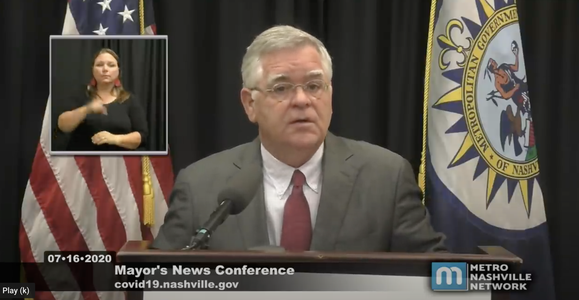 Mayor John Cooper speaks at his July 16 press conference. (Photo: Metro Nashville Network YouTube channel)