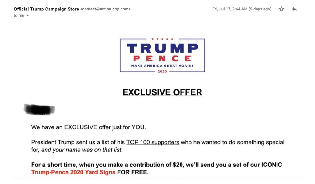 Email from Trump-Pence campaign.