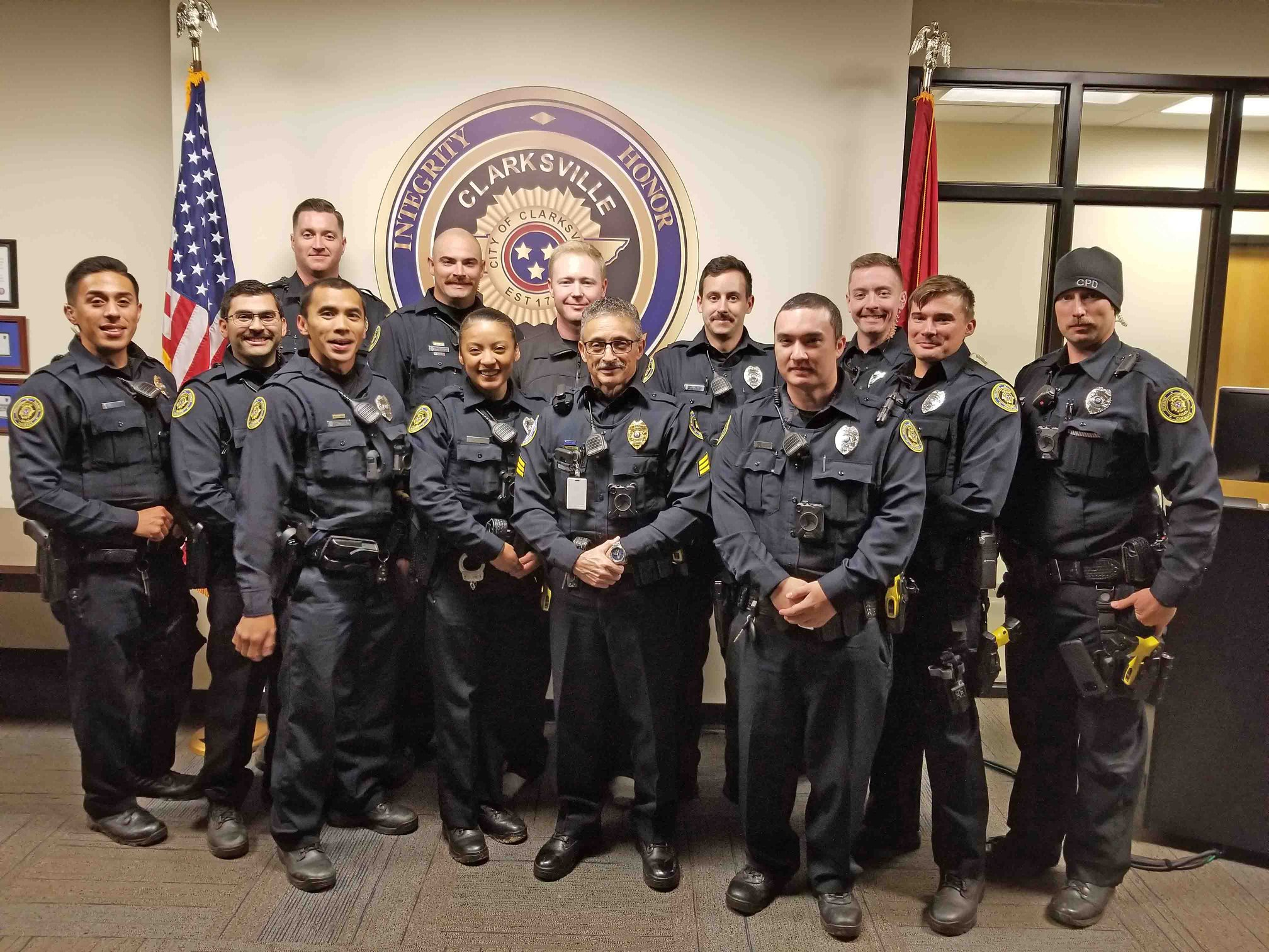 A November 2019 photo of members of the Clarksville Police Department from the retirement ceremony of Sgt. Ramon Ferrer-Ramos after 18 years on the force. (Photo: Clarksville Police Department Facebook page)