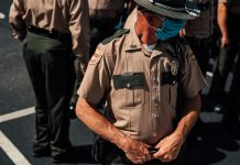 A Tennessee Highway Patrol officer at a recent protest outside the Tennessee State Capitol. (Photo: Alex Kent)