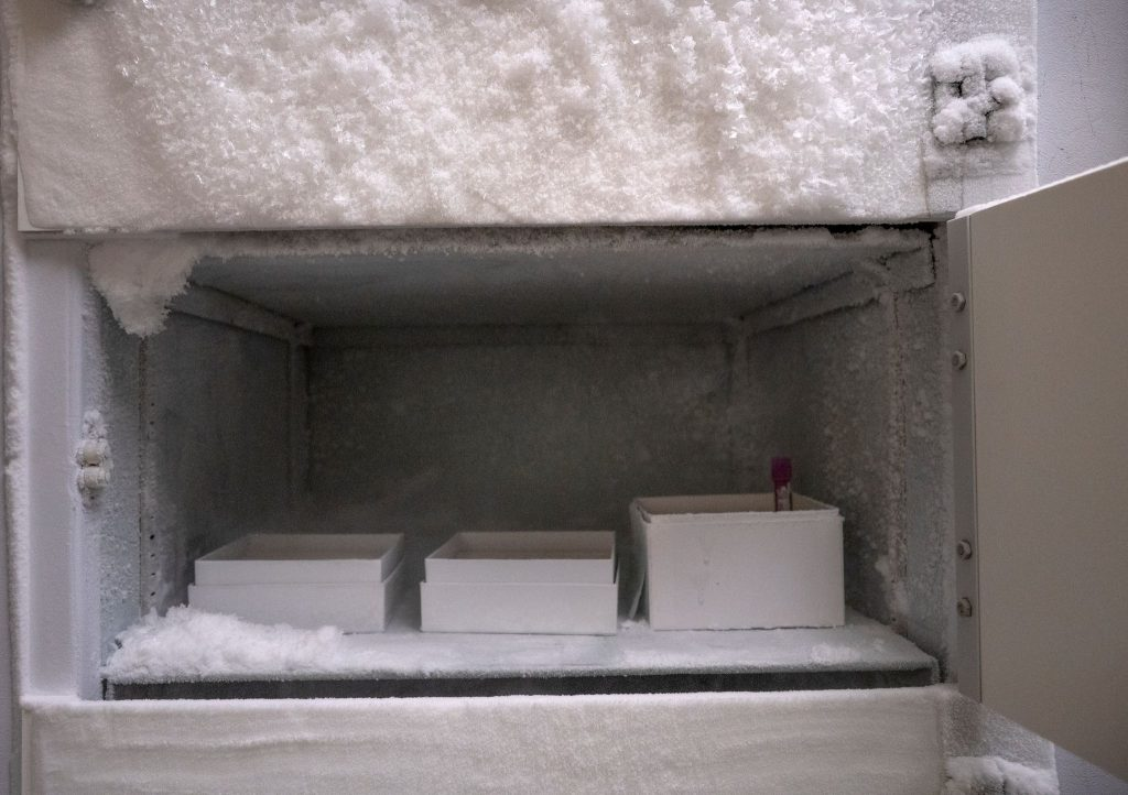 Icebox in which vaccines will be stored at Clinical Research Associates. (Photo: John Partipilo)
