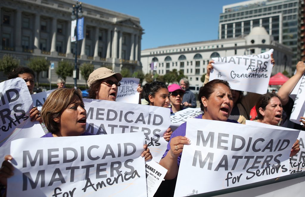 California voters at a protest against Medicaid cuts. (Photo by Justin Sullivan/Getty Images)