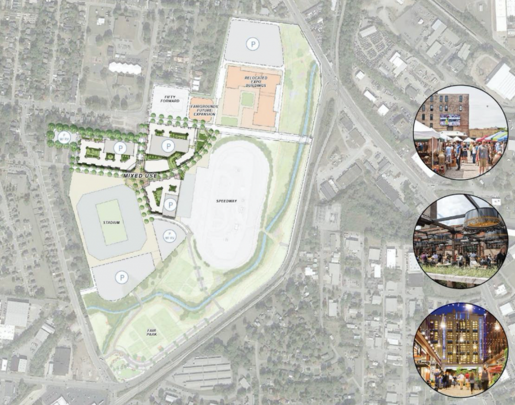 Renderings of the redeveloped fairgrounds site, which will include the current race track and new Nashville Soccer Club stadium. (Rendering: Fairgrounds Nashville)