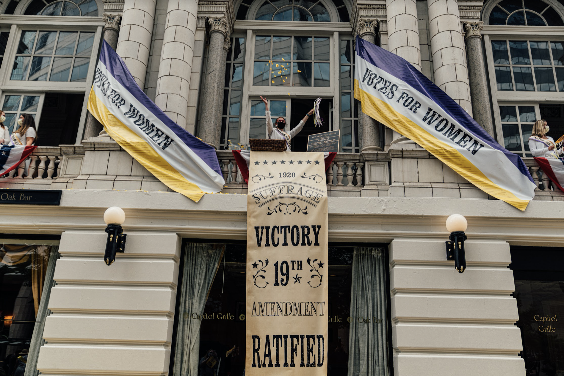 Nashville, Tenn., Aug. 18 - The Hermitage Hotel displays pride in its role in passing the 19th Amendment. (Photo: Alex Kent)