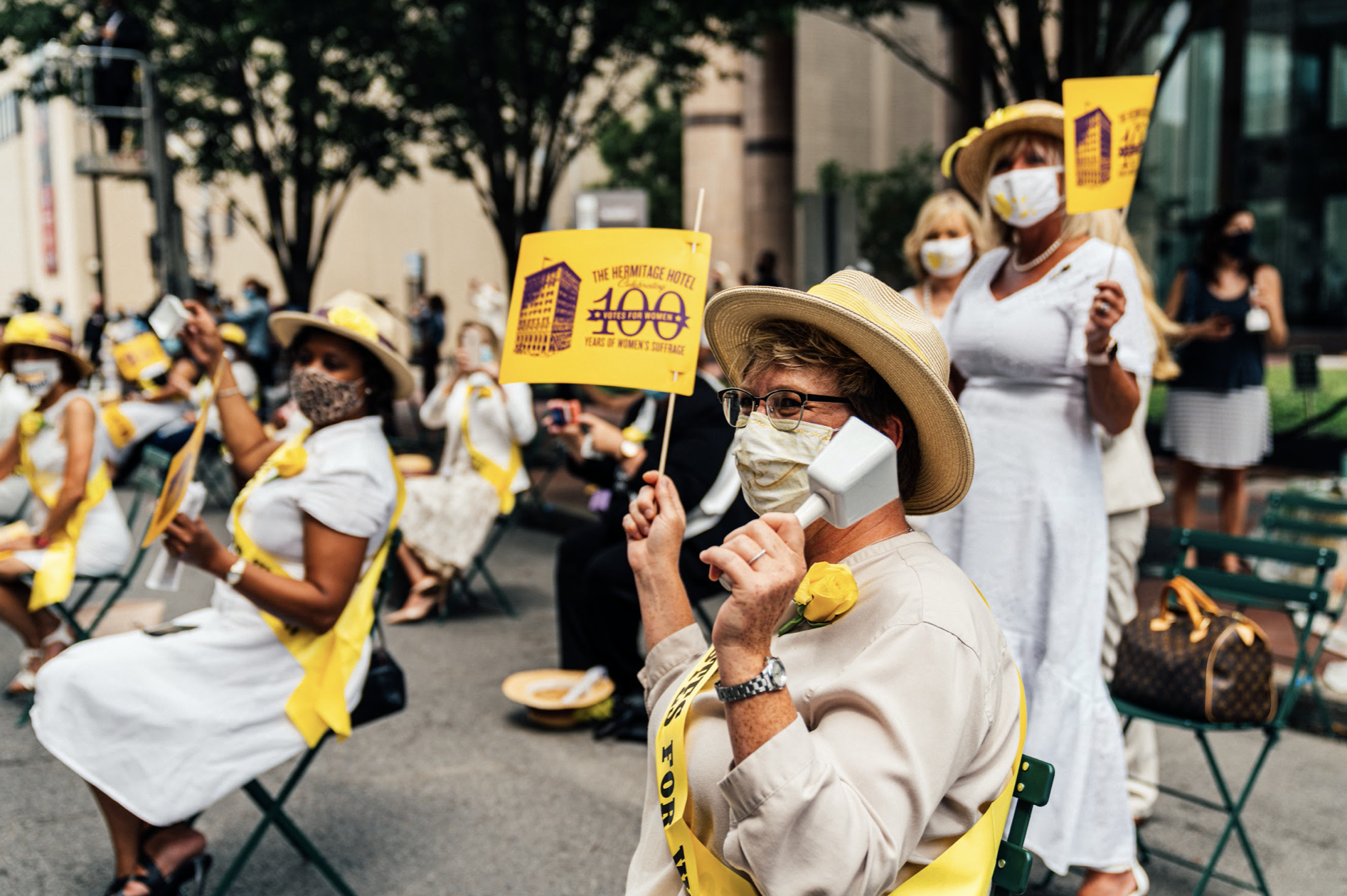 Nashville, Tenn., Aug. 18 - A group of women voters ring bells to celebrate the 100th anniversary of women gaining the right to vote. (Photo: Alex Kent)