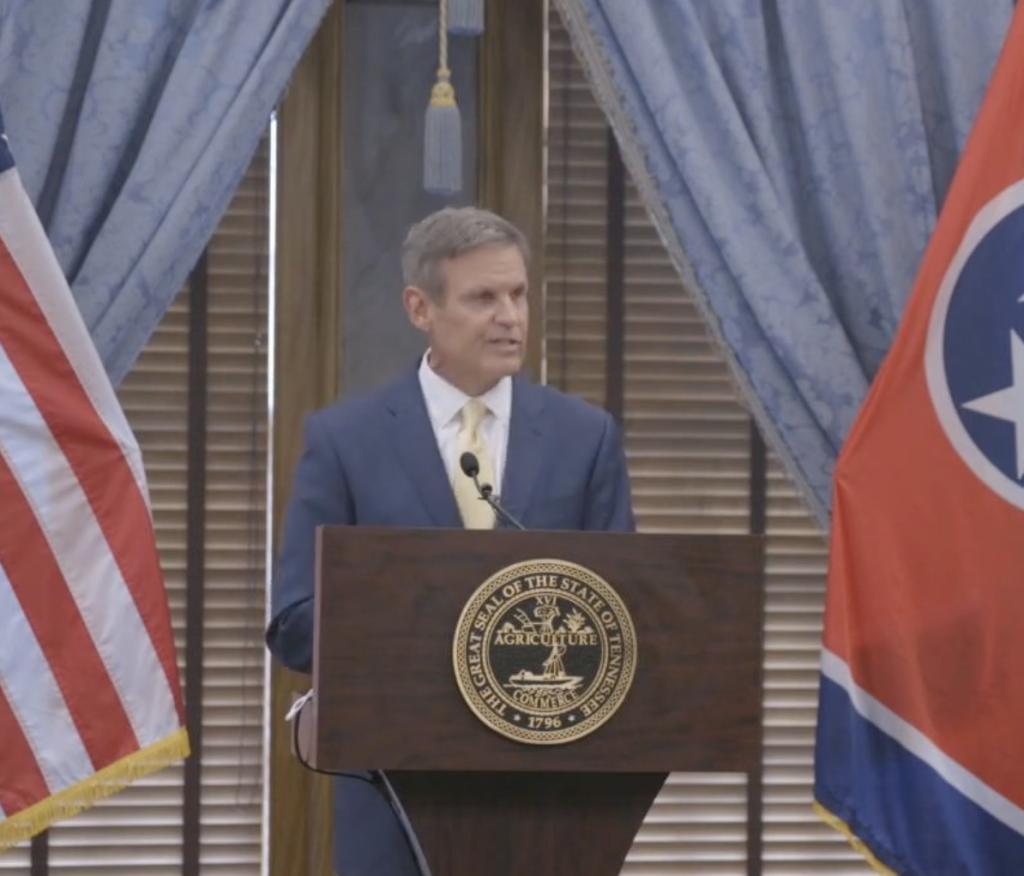Gov. Bill Lee gives his bi-weekly media briefing Aug. 18. (Photo: Tn.gov)