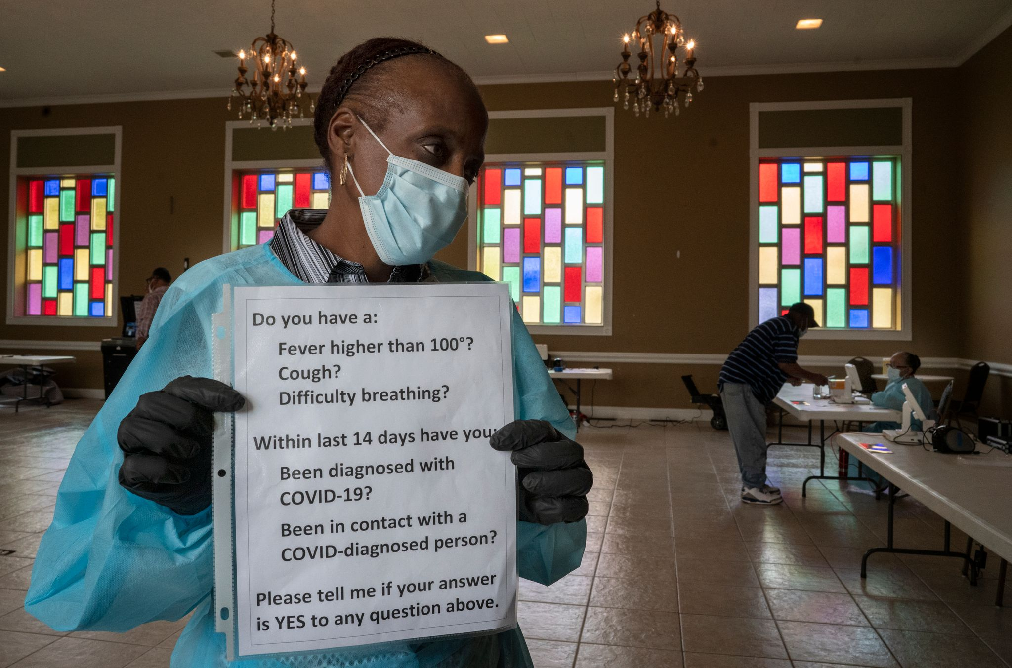 A poll worker at North Nashville's Cathedral of Praise. (Photo: John Partipilo)