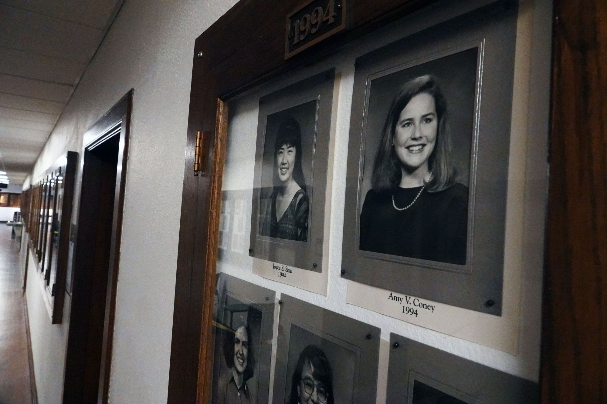 A photo of Rhodes College graduate Amy Coney Barrett, (right) who is one of the top choices to replace the late Ruth Bader Ginsburg on the U.S. Supreme Court, hangs in the school's Hall of Fame on September 22,2020. Rhodes College is in Memphis, Tennessee. As a member of the Rhodes College Class of 1994, Coney Barrett graduated magna cum laude and Phi Beta Kappa with a Bachelor of Arts in English. While at Rhodes, she was elected to the Honor Council and to the Student Hall of Fame. She has gone on to a career of professional distinction and achievement. (Photo: © Karen Pulfer Focht)