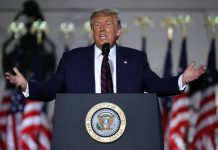 President Donald Trump delivers his acceptance speech for the Republican presidential nomination on the South Lawn of the White House Aug. 27, 2020 in Washington, DC.   Chip Somodevilla/Getty Images
