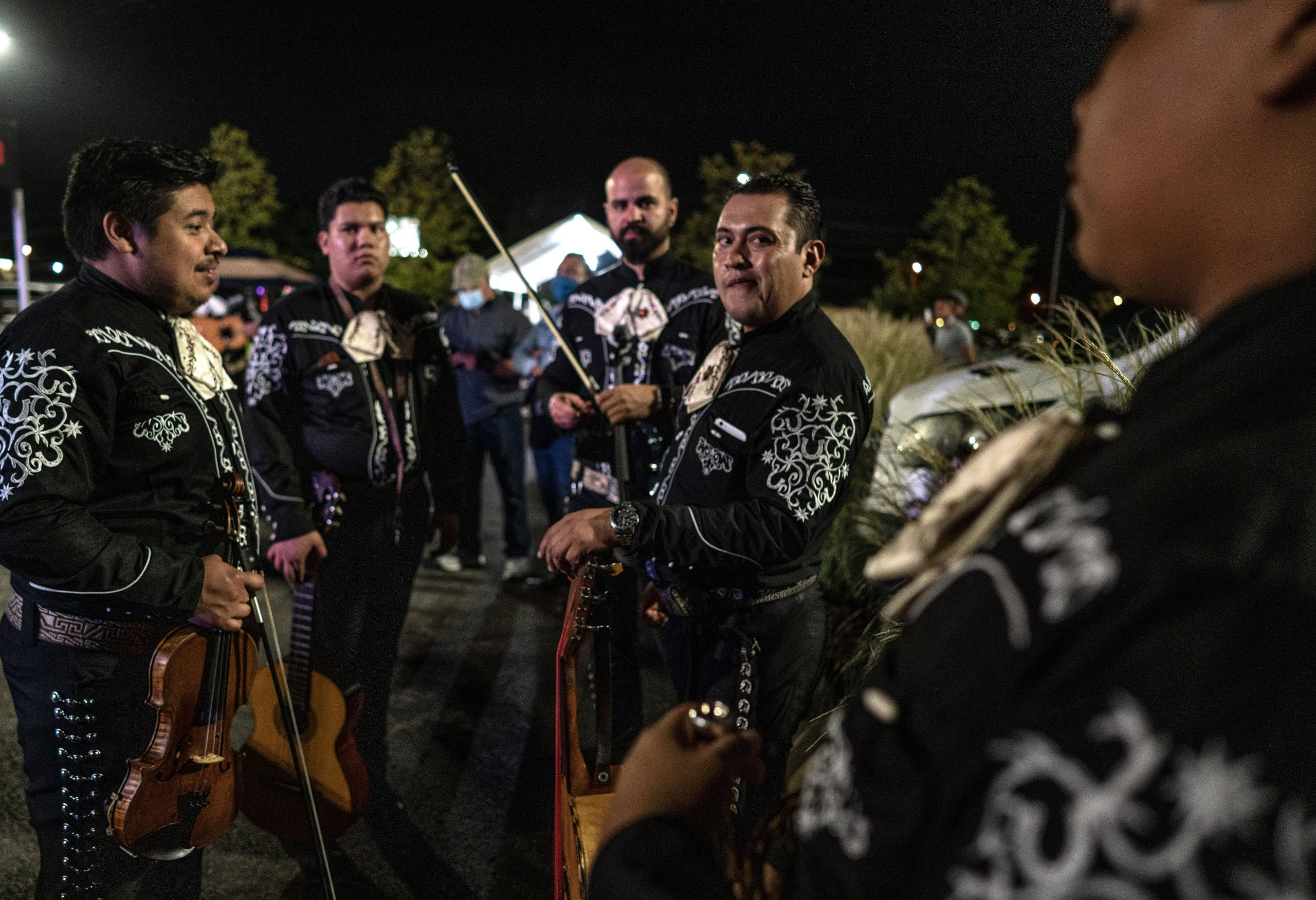 Members of the band Mariachi Nashville get ready to perform with singer Elena Jimenez during Mexican independence day at Plaza Mariachi. (Photo: John Partipilo)