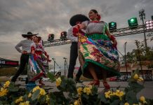 Ballet Folklorico Sol de Mexico dancers Ruby Rodriguez, Maricruz Vilchis, Jose Luis Escoto and Alan Solis perform traditional dancing during Mexican Independence Day at Plaza Mariachi. (Photo: John Partipilo)