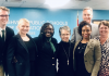 Metro Nashville Schools Board Member Gini Pupo-Walkeriu, fourth from left, poses at a 2019 school board meeting. (Photo: Twitter)