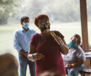 Marquita Bradshaw speaks at an event in Williamson County in August. (Photo: Matt Masters, Williamson Home Page)