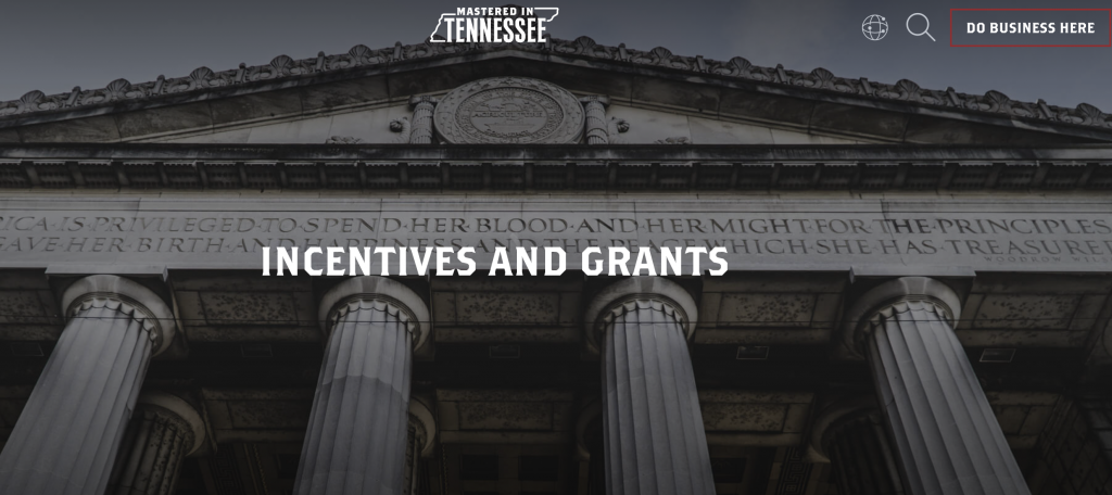 Screenshot of Tennessee Department of Economic and Community Development homepage.