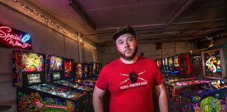 Seth Steele of A Smarter Nashville, inside his pinball machine warehouse (Photo: John Partipilo)