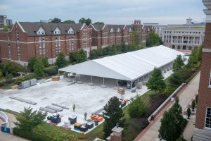 The Debate Media tent as seen from Maddox Hall at Belmont University in Nashville, Tennessee, September 22, 2020. (Photo: Samuel Simpkins/Belmont University)