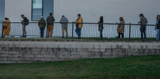 Voters stand in line on the first day of early voting in Nashville at Casa Azafran. (Photo: John Partipilo)