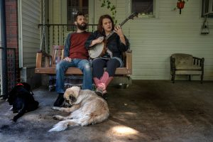Musicians Daniel Rice and Ashley Caudill on the front porch of their Goodlettsville house. (Photo: John Partipilo)