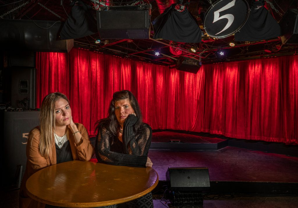 Chelsea Crowell and Erin McAnally of the Artists Rights Alliance in East Nashville's 5 Spot, shuttered since March. (Photo: John Partipilo)