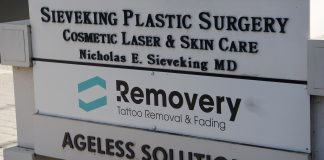 Sign outside Removery Nashville. Removery uses laser technology to remove unwanted tattoos. (Photo: Matt Bastin)