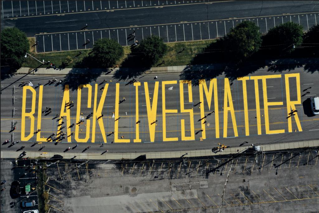 Drone view of Black Lives Matter street mural on Woodland Street. (Photo: Alex Kent)