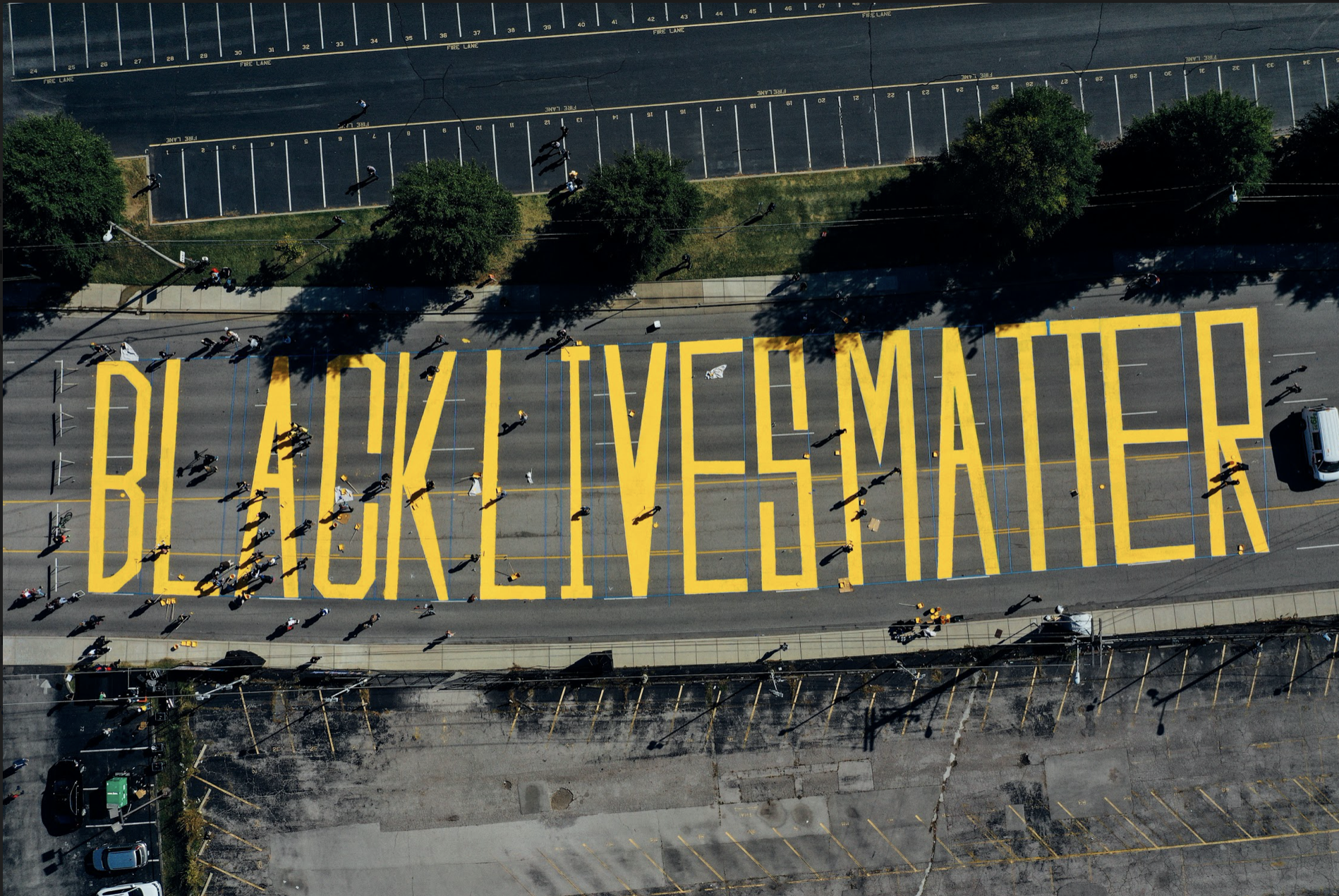 Drone view of Black Lives Matter street mural on Woodland Street. (Photo: Alex Kent)