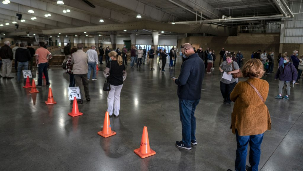 Inside the Williamson County AG Expo Center, usually reserved for fairs and rodeos, voters in line inch forward on Friday, the third day or early voting. (Photo: John Partipilo)